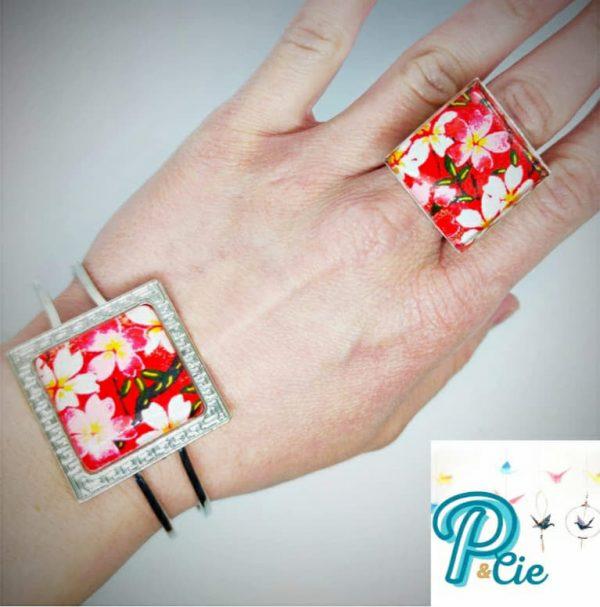 bracelet et bague cabochon rouge